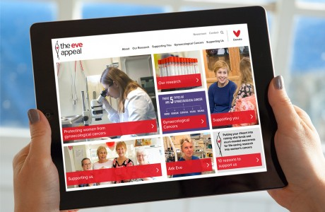 Eve Appeal Website shown on iPad