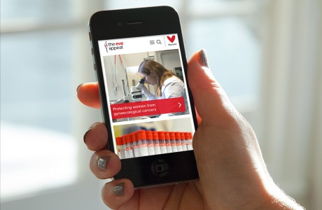 The Eve Appeal Website shown on iPhone