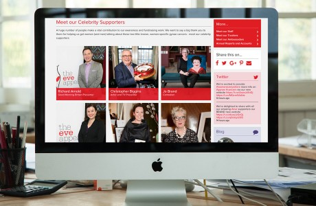 The Eve Appeal Website shown on an iMac